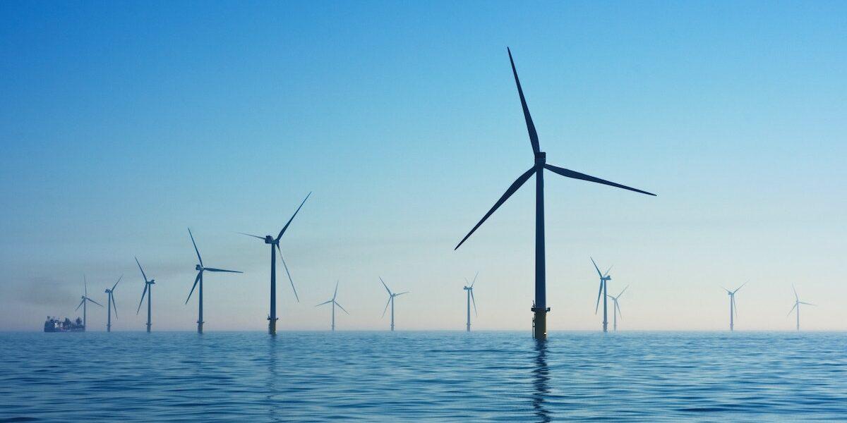 Wind turbine farm in ocean